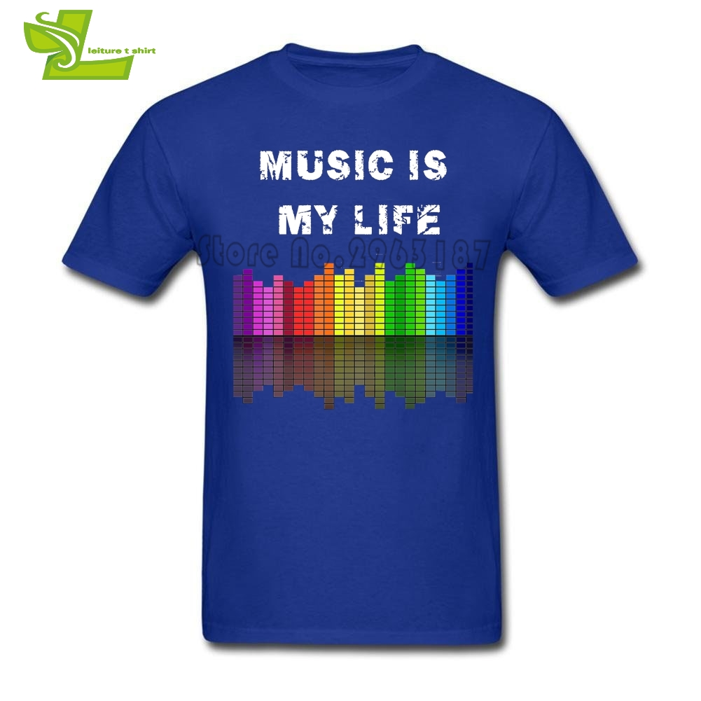Music Is My Life T Shirt Teenage Newest Simple Tee Shirts Music Equalizer Printing T-Shirts Men's 100% Cotton Teenboys Clothing