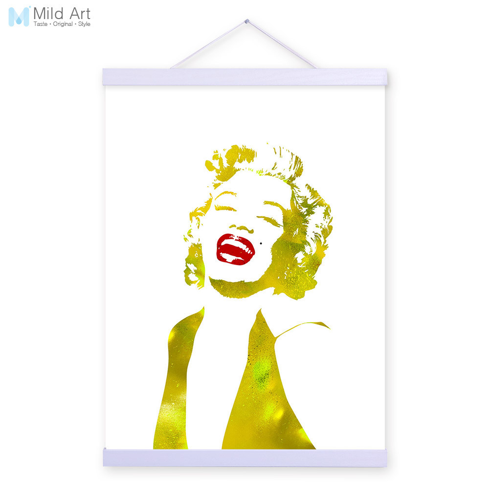 Watercolor Modern Marilyn Monroe Gold Portrait Wooden A4 Framed ...