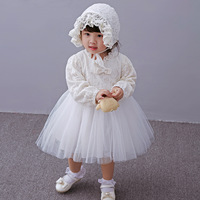 2017 New Spring Baby White Lace Tutu Dress+hat,infant Girls Wedding Party Dress Baby Dress Christening