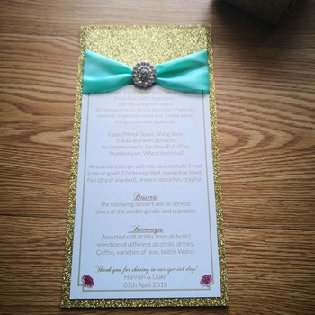 30pcs/lot Personalized menu two layers menu handmade gold glitter  With ribbon and brooch luxury menu whole set available