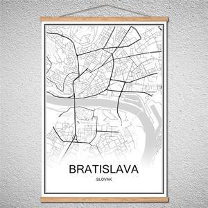 Братислава с рамкой, современный постер с картой мира, индивидуальный узор, изображение с абстрактным принтом, картина маслом, холст, кафе, б...