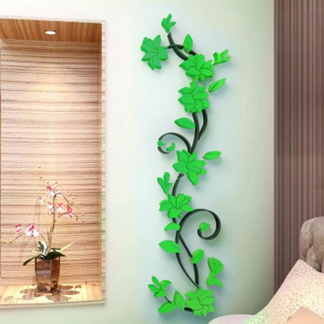 3d diy removable art vinyl wall stickers vase flower tree decal