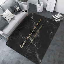LOUTASI Nordic Letters Marble Pattern Carpet Living Room Rug Sofa Table Floor Mat Bedroom Rectangular Bedside Area Yoga