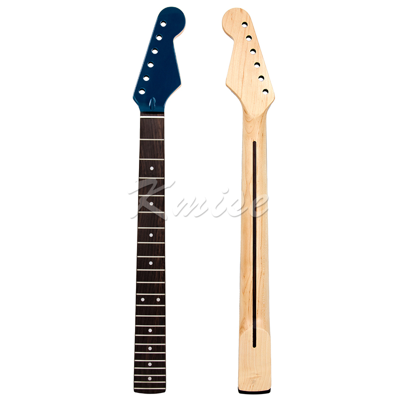 Electric Guitar Neck for Parts Replacement Canada Maple 22 Frets Rosewood Fretboard Clear Satin with Gloss Blue Head Bolt On 24 fret electric guitar neck for ibz parts replacement maple with rosewood fretboard