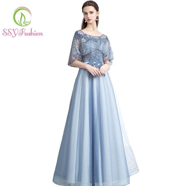 SSYFashion Neue Das Bankett Elegante Grau Blau Spitze Abendkleid ...