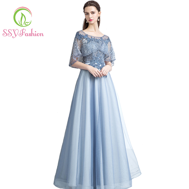 SSYFashion New The Banquet Elegant Grey Blue Lace Evening Dress Appliques  Beading with Shawl Long Prom Party Gown Robe De Soiree afdbe240f93d