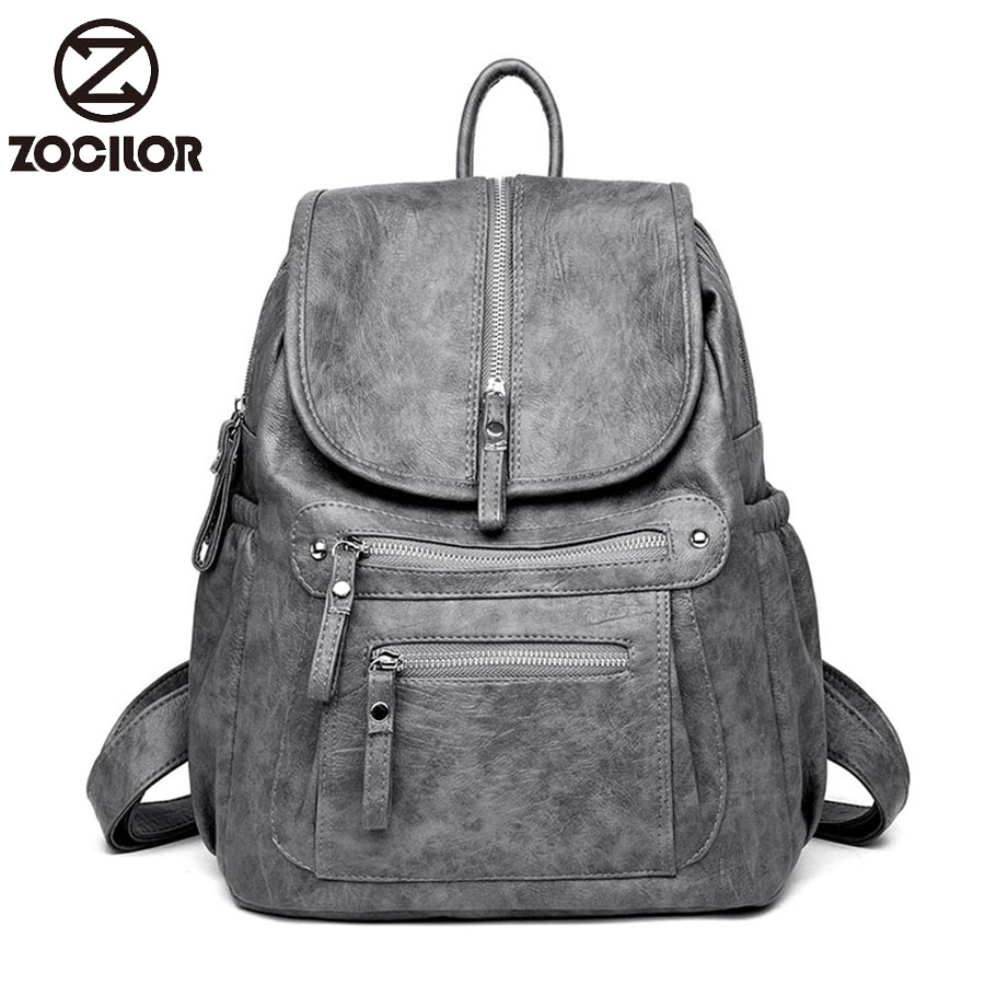 Women Backpack High Quality Leather  Fashion School Backpacks Female Feminine Casual Large Capacity Vintage Shoulder Bags