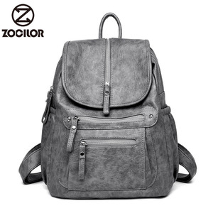 Women Backpack high quality Leather Fashion school Backpacks Female Feminine Casual Large Capacity Vintage Shoulder Bags(China)