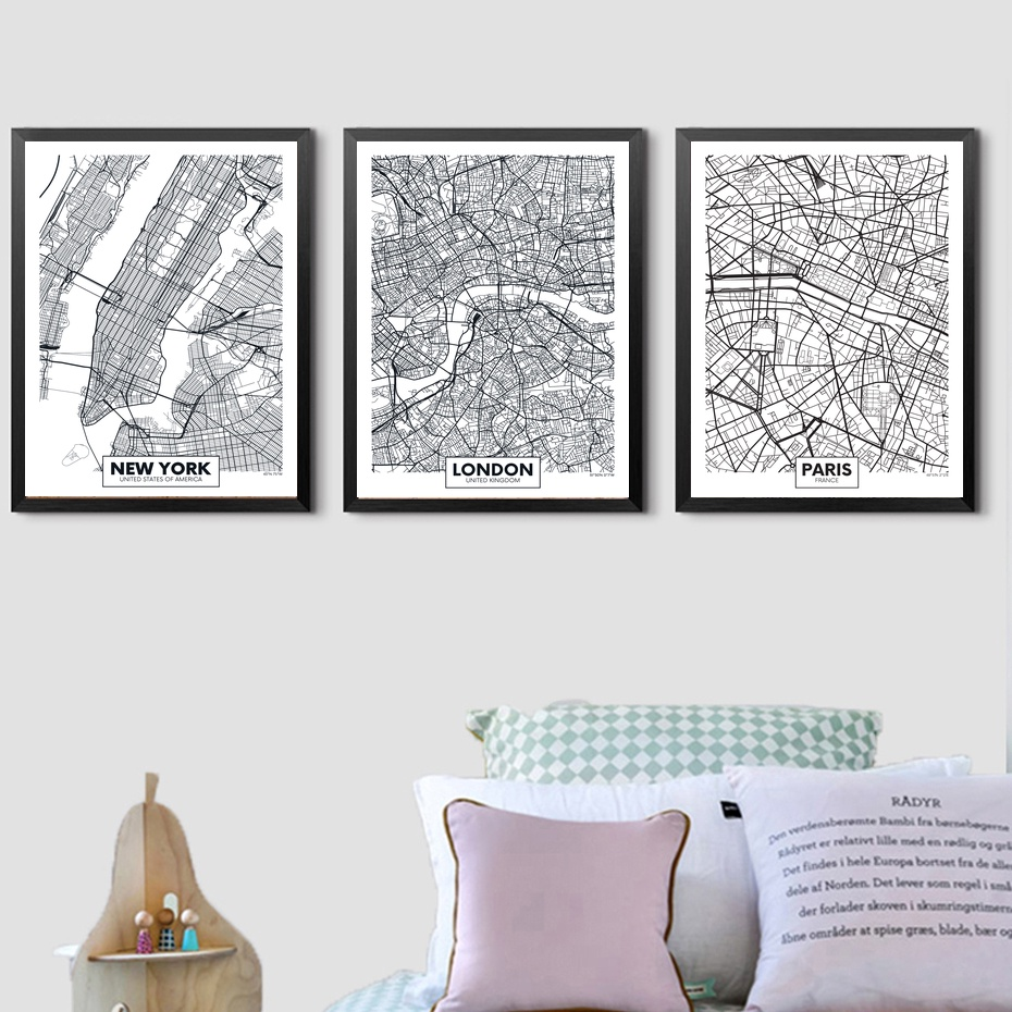 New York City Modern Canvas Painting Print Picture Home: London Paris New York City Map Wall Art Paint Wall Decor