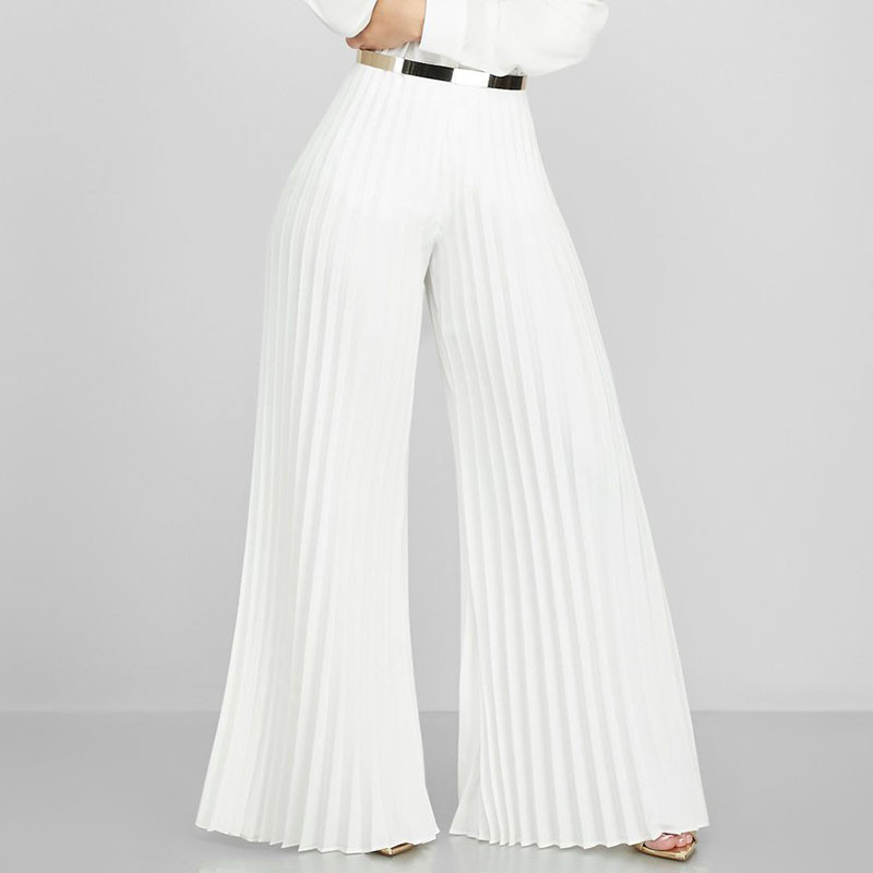 2019 Office Lady Pleated Wide Leg Pants Women Autumn Work Business Elegant Long Trousers Female Loose High Waisted Palazzo Pants