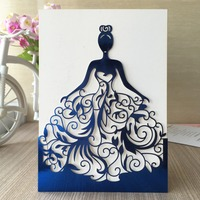 50pcs Lot Exquisite Beautiful Girl Birthday Paty Wedding Invitation Cards Adult Ceremony Celebration Invitaiton Blessing Card