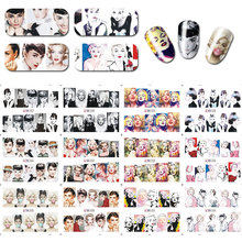 12sheets/lot 12Patterns Beauty Sex Women Floral Nail Water Decals Transfer Stickers Nail Sticker Nail Art Decoration BN025-36 стоимость