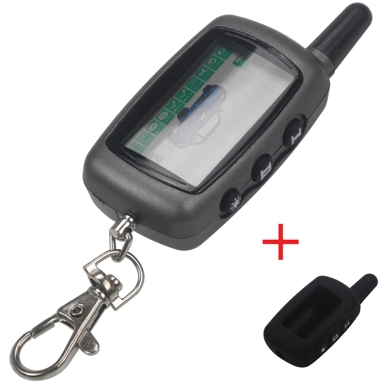 Kutery pour Véhicule de Sécurité Deux Voies Alarme De Voiture StarLine A9 Clé Chaîne Système D'alarme Pour Voitures A9 LCD Télécommande porte-clés