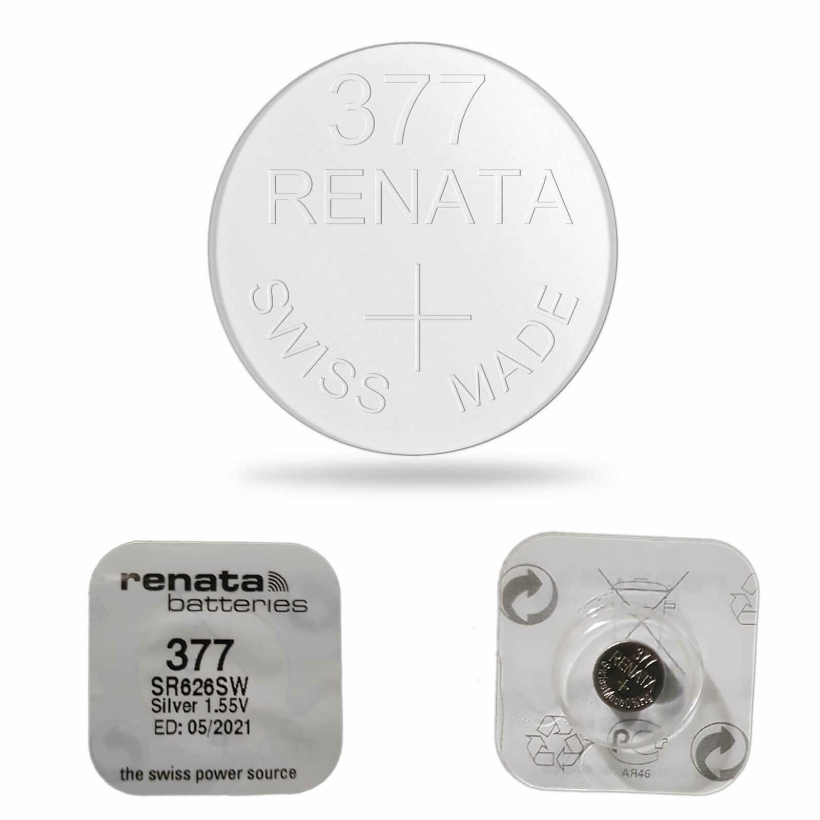 5 x RENATA 377 WATCH BATTERY SR626SW SWISS MADE SILVER OXIDE 1.55V MERCURY FREE | Watch Batteries
