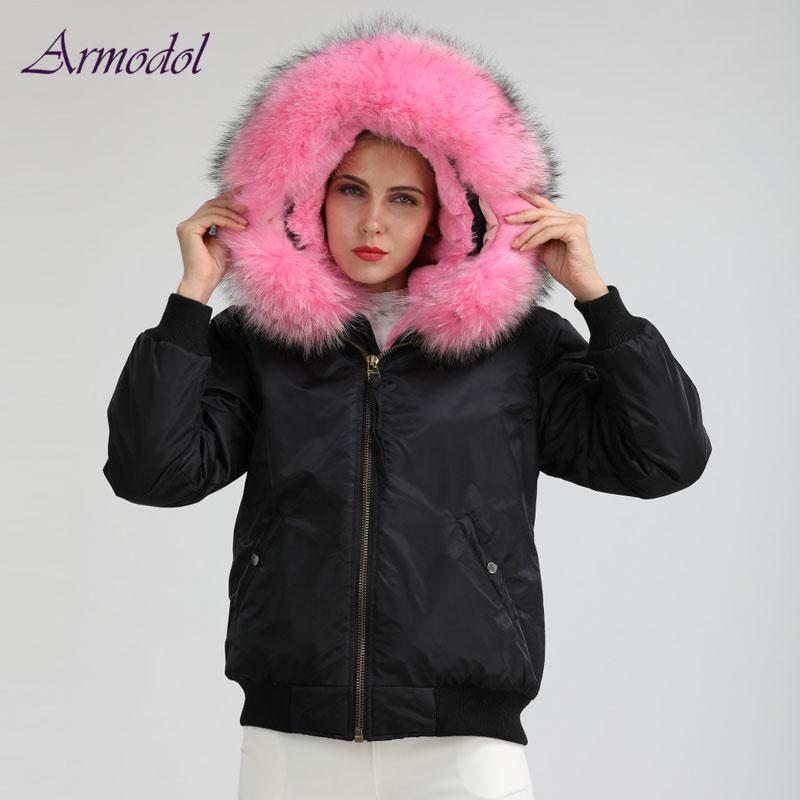 2017 Winter New Arrival Black Boomber Jacket Women Big Raccoon Fur Hood Parka Short Wind and waterproof Jacket