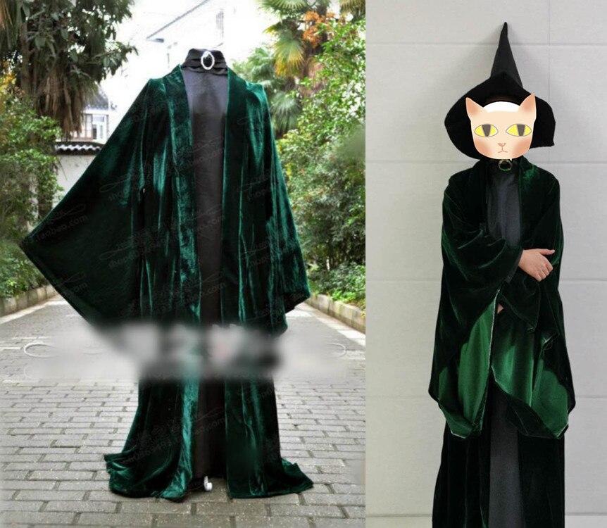 Movie Potter Professor Professor Minerva McGonagall Costume Professor McGonagall Dress With Cape Green Velvet Role Play Dresses