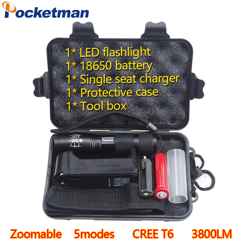 LED flashlight Tactical Flashlight 3800LM CREE T6 LED Flashligh Aluminum Waterproof Zoomable Torch 5modes for 18650 Rechargeable