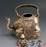 TOP collection # Home OFFICE Decor art old Vintage CHINA silver Elephant sculpture silver plating teapot pot FREE SHIPPING