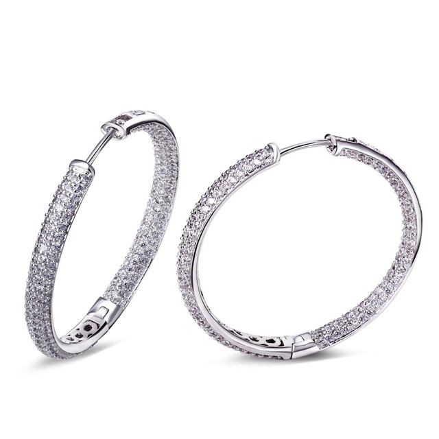 35MM hoop earrings Cubic Zirconia jewelry SALE Fashion Big Round Hoop Earrings Elegant Simple Pierced For Evening Party