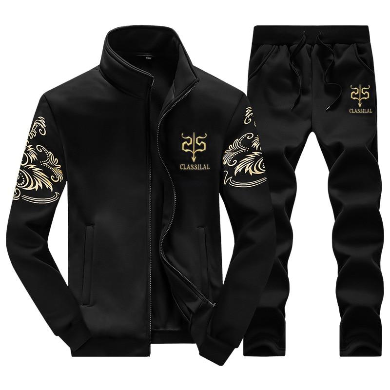 Brand New Men Set Fashion Autumn Spring Sporting Suit Sweatshirt Sweatpants 2 Pieces Mens Clothing font