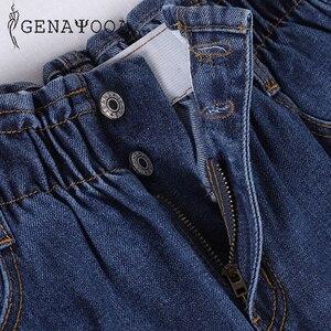 Image 5 - Genayooa Pencil Jeans 여성 플러스 사이즈 여성용 하이 웨이스트 보이 프렌드 청바지 신축성있는 허리 바지 루즈 한 빅 사이즈 청바지 여성