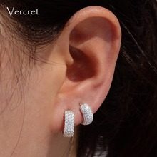Vecret Sterling Silver Small CZ Hoop Earring Cartilage Hoop Earrings For Girls Party Gift 8mm