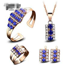 цена на wholesale jewelry pendants Alloy color gem is covered 4 times Elongated crystal necklace bracelet earrings ring set suits
