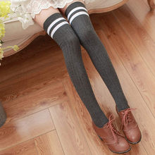 0d24f2552e4 Feitong Womens Fashion Striped Thigh High Sexy Warm Knit Crochet Over Knee  Long Stockings For Girls Autumn Leggings