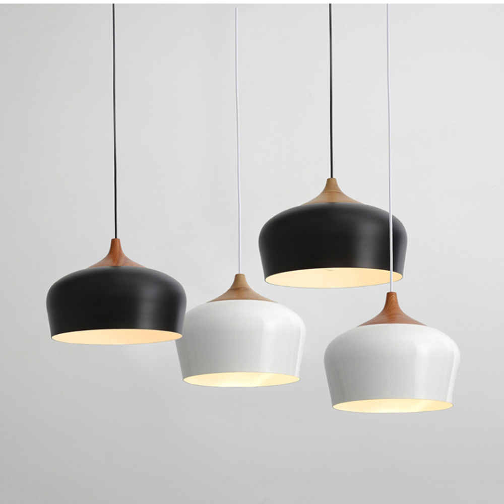 White/Black Modern Led Pendant Light Lamp Wood +Aluminum, E27 socket Hanging Light Pendant Lamp Dining Room Bedroom AC 110V 220V black white creative pendant light ac220v 110v e27 metal modern led lamp pendant light lamp dia32x24cm hanging lamps for bedroom