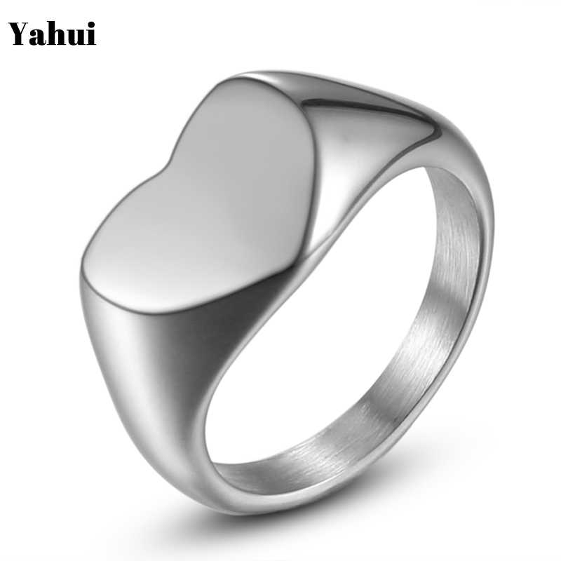 YaHui stainless steel Silver Heart-shaped women rings for women fashion jewelry ring stainless ring for silver ring for girls