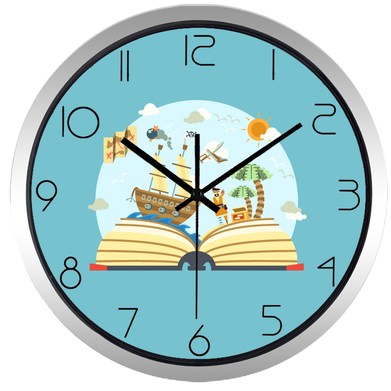 Cartoon Pirate Ship Book Wall Clock For Study Liveing Room In Wall