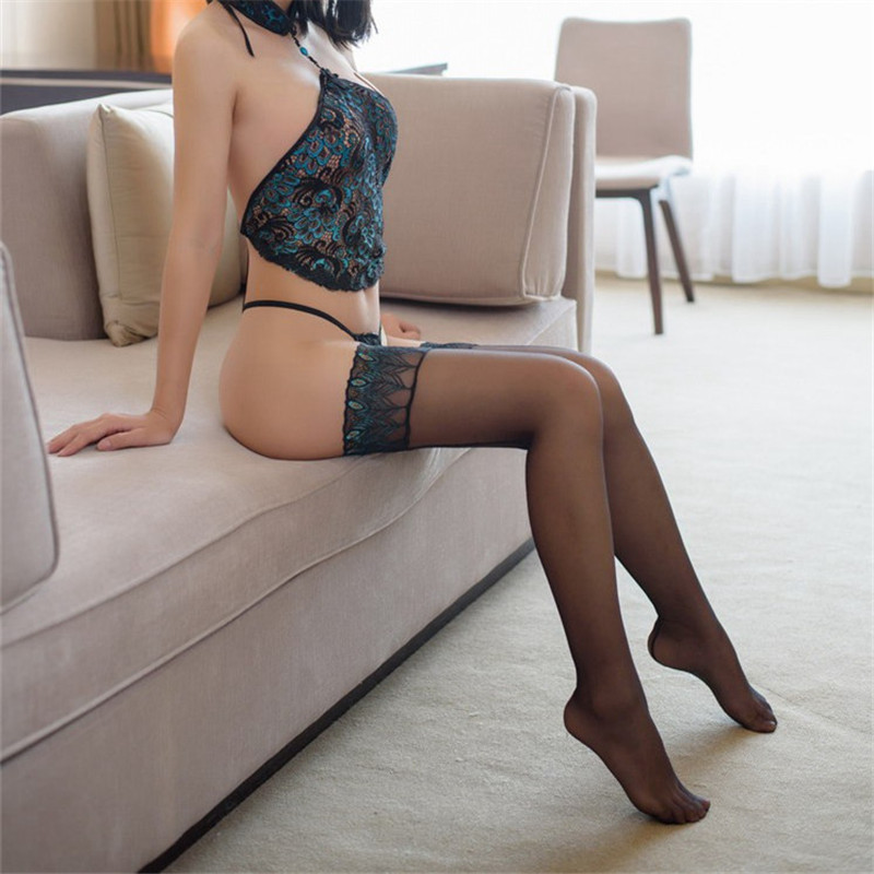 Transparent Thigh High Sexy Stockings Long Silicone Ribbon Stay Up Nylon Stockings For Women Peacock Pattern Over The Knee Socks