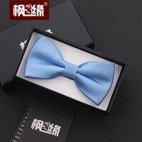The Korean Men Dress Blue Tie Groom Groomsmen Blue Silver Little Bow Tie Marriage