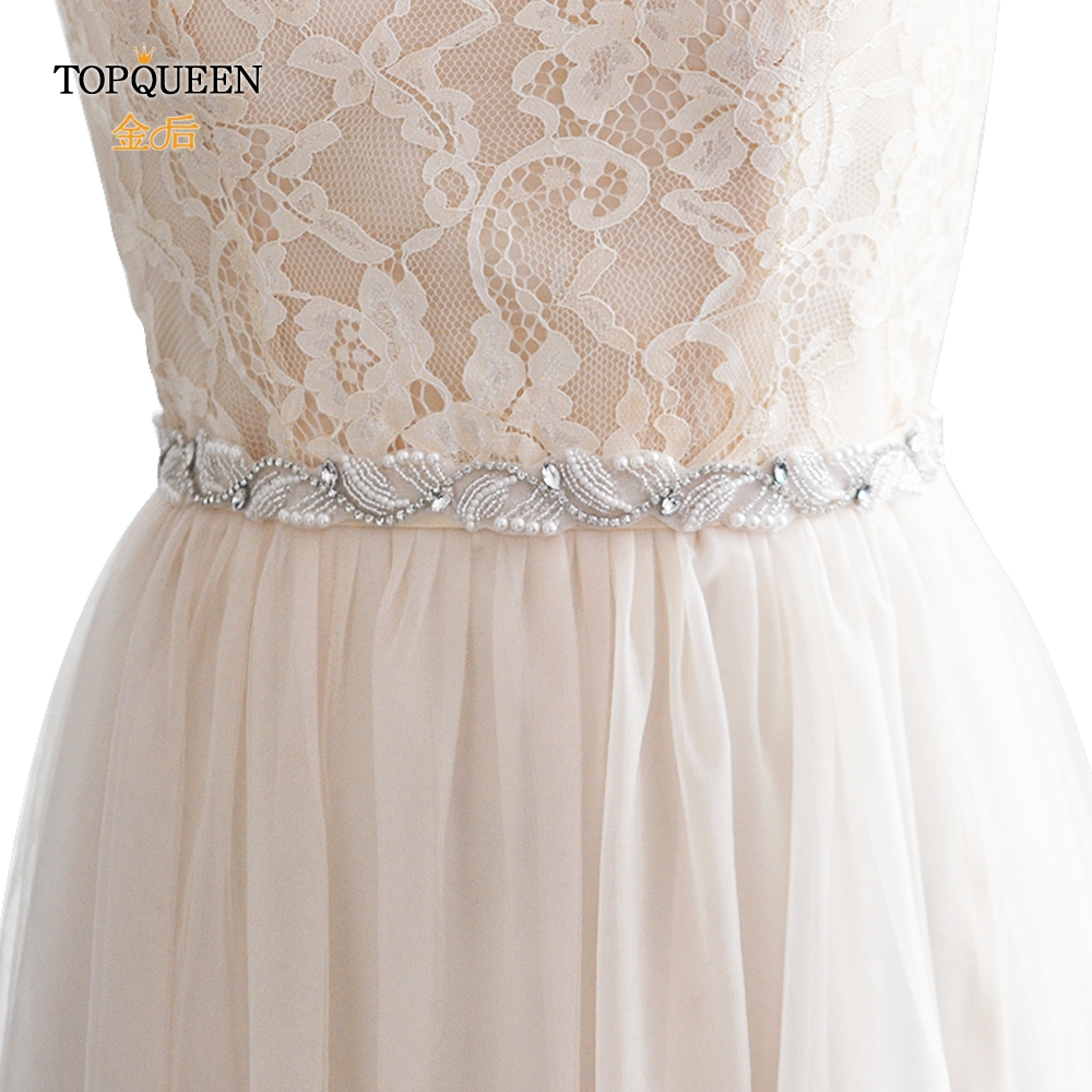 TOPQUEEN S273  Rhinestones Belt Pearls Wedding Belts Wedding Sashes Belt Jewelery Belt Bride Belt For A Wedding Dress