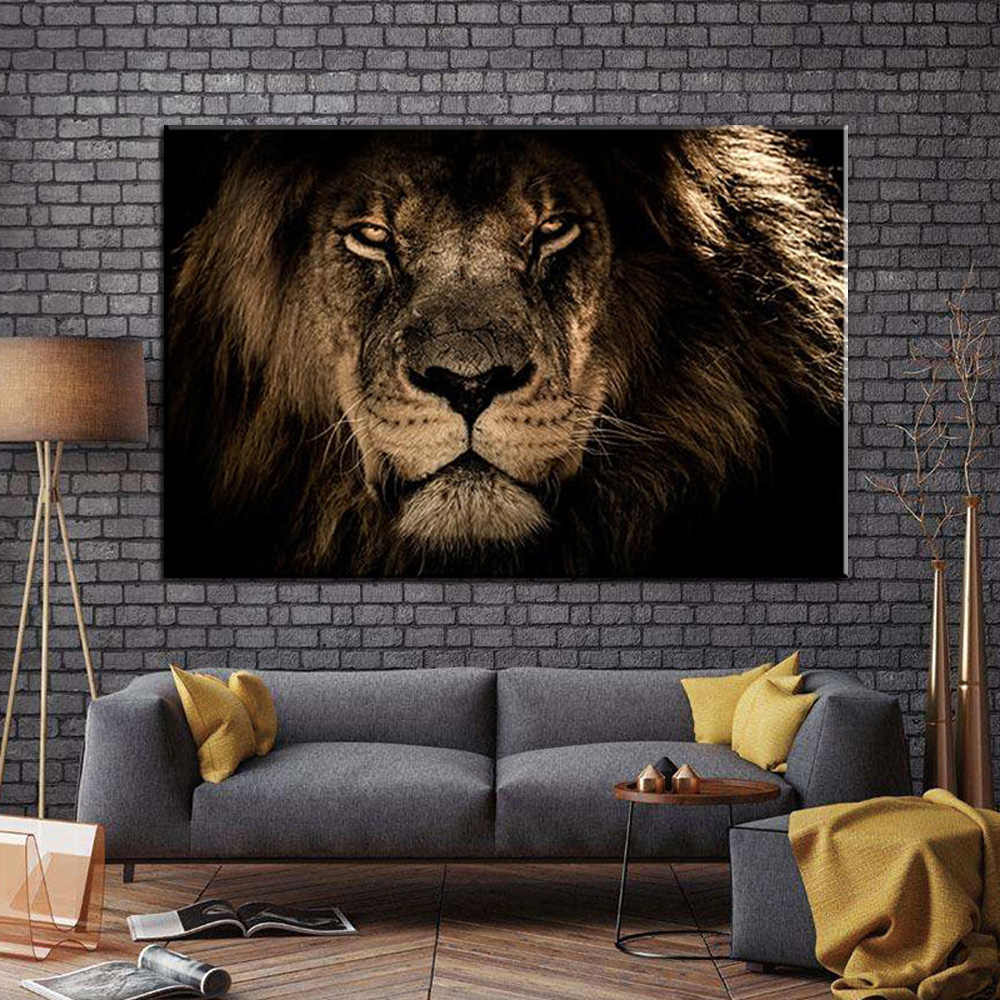 Black White Lion Elephant  Leopards Horse Wall Art Canvas Painting Nordic Posters And Prints Wall Pictures For Living Room Decor