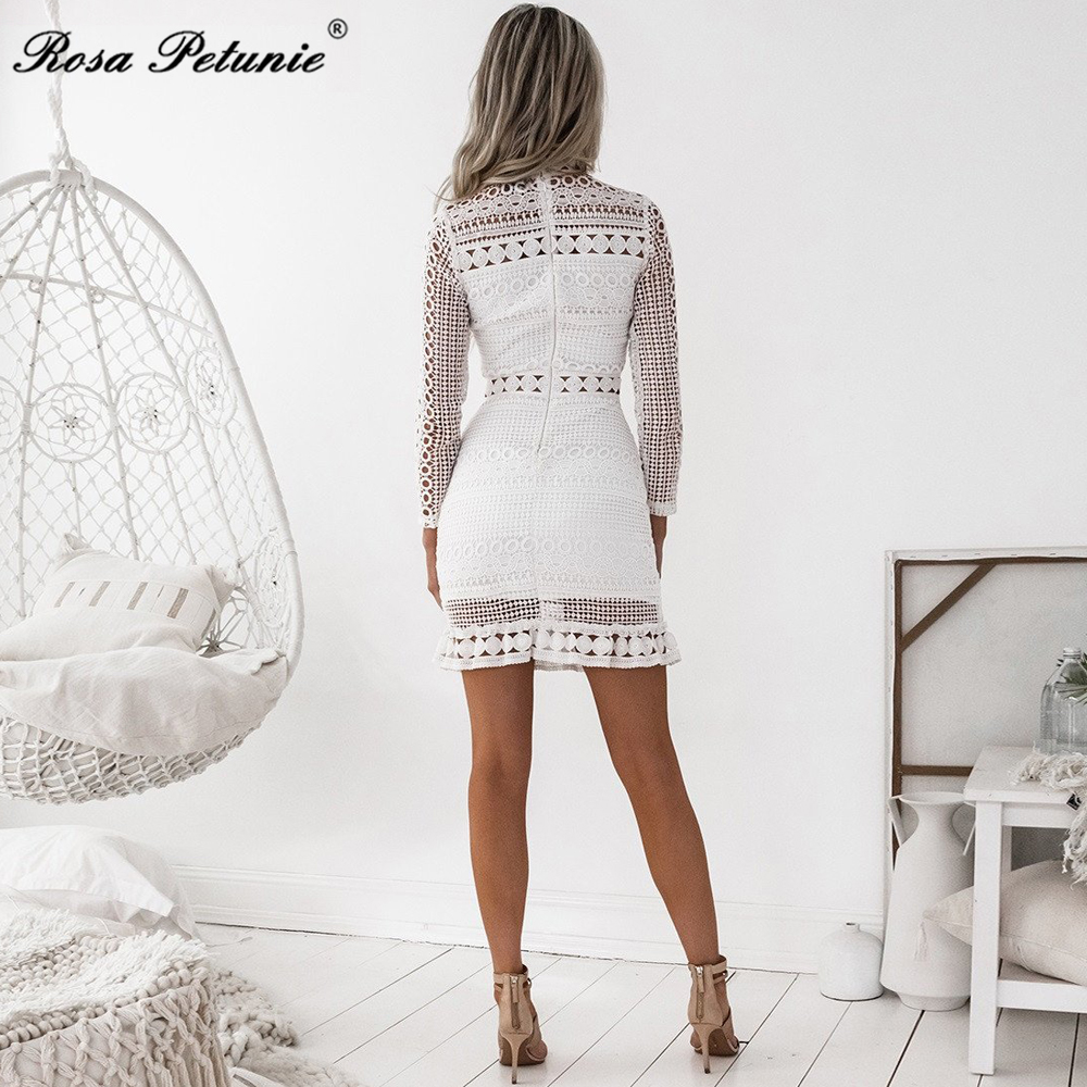 Rosa Petunie summer Dress 2017 Women Casual Beach Short Dress White Mini Lace Patchwork Dress Sexy Party Dresses Vestidos 3