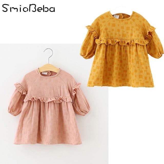 a40b759d867 18 New Korean Dress of Children s Skirt Baby Girl s Long Sleeve Dress with  Lotus Leaf Edge Pure Cotton Children s Dresses