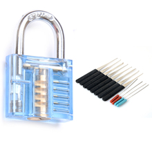 Quality Transparent Visible Pick Cutaway Practice Padlock Lock With Broken Key Removing Hooks Lock Extractor Set Locksmith Tool