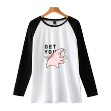 LUCKYFRIDAYF 2019 New Year Of The Pig Long Sleeve T-shirt Women/Men Autumn Raglan Tidal Soft Cotton Harajuku Tshirt