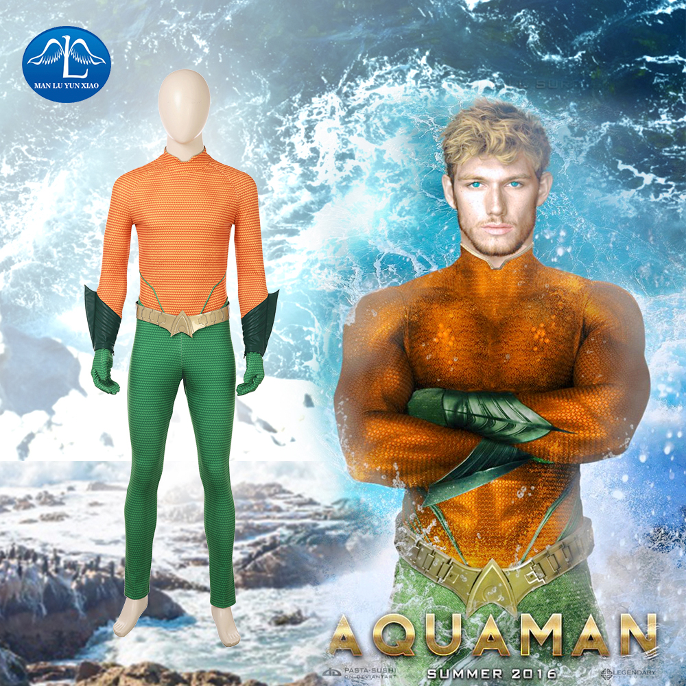 MANLUYUNXIAO New Men's Aquaman Costume Arthur Curry Cosplay Costume Men Jumpsuit Halloween Costumes for Men Wholesale
