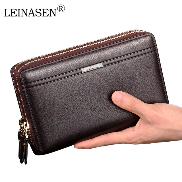 LEINASEN 2017 Hot Double Zippers PU Leather Men Wallets Leather Coin Purse Men Wallet Credit Card Holder Father's Present
