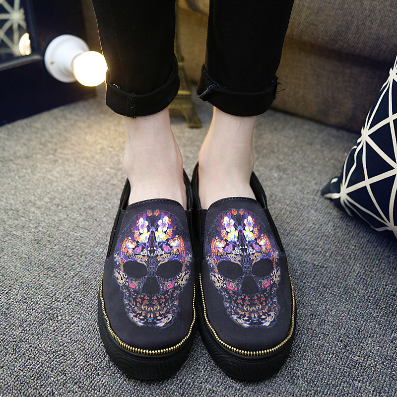 ФОТО Canvas Shoes Plimsolls Mens Slip on Casual Shoes Skull Printed Loafers Shoes Breathable Male Flats Espadrilles Zapatos XK032702