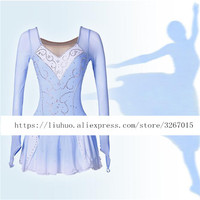 Figure Skating Dress Women's Girls' Ice Skating Dress Competitive performance clothing Light blue long sleeve High stretch