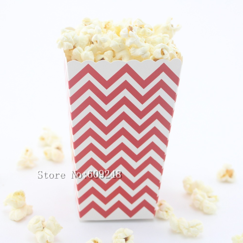 24pcs red chevron paper popcorn boxeszig zag carnival party favor boxescandy buffet