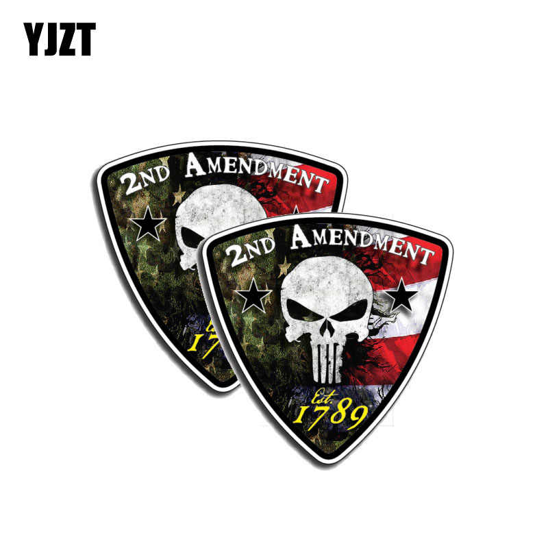 YJZT 2X 9CM*9CM 2nd Amendment Punisher Skull 1789 Car Sticker Decal PVC Car Accessories 6-0137