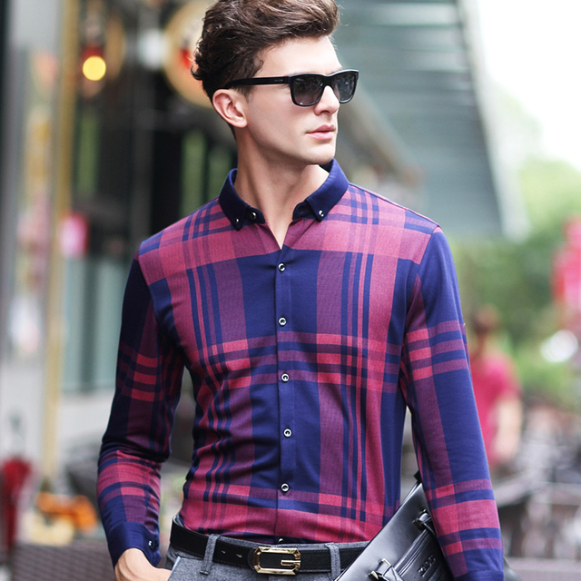 2016 Новый Осенняя Мода мужская С Длинным Рукавом Случайные Плед Рубашку Мужчины Клетчатые Рубашки