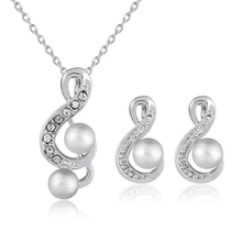 1 Pcs Elegant Rhinestone Crystal Bridal Faux Pearls Flower Musical Note Party Jewelry Necklace Earrings Set for Wedding