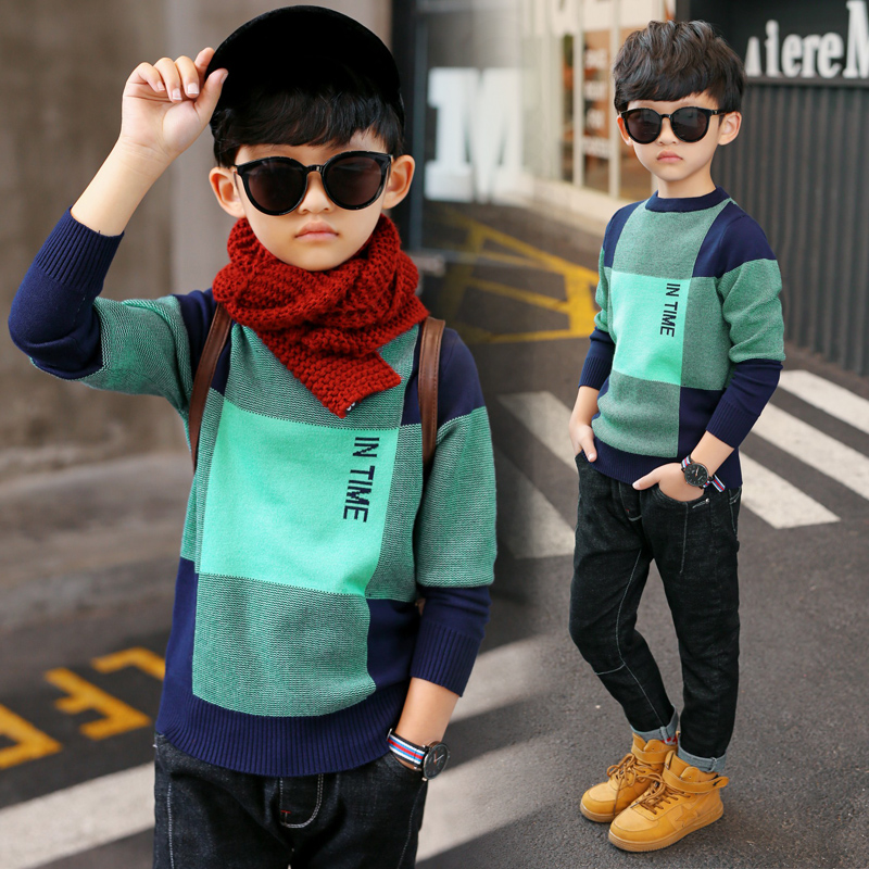 YODINA Kids Clothing Autumn Spring Boys Sweaters Children Casual Knitted Pullovers Teenager Boys Plaid Sweater 6 8 10 12 Years 2018 spring and autumn new children girls sweaters casual o neck wool knitted clothes warm cashmere pullovers vest kids clothing