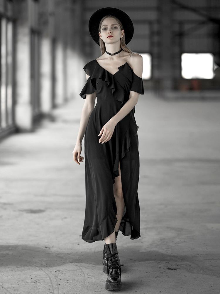 Punk Rave femmes romantique Goth à volants manches haute fente robe PQ599LQ asie taille (S-L)
