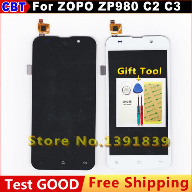 Para zopo zp980 zp980 + c2 c3 pantalla lcd + pantalla táctil montar pantalla lcd de reemplazo para zopo zp980 c2 + envío gratuito